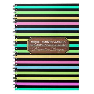 Regen-Bogen Stripes Nacht verziertes modernes Notizblock