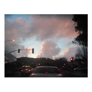 Regen Falliing am Sonnenuntergang in San Luis Postkarte