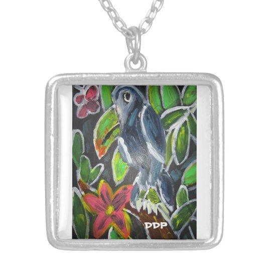Regen-WaldToucan Kunst Halskette Mit Quadratischem Anhänger