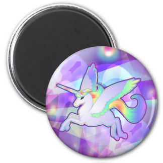 Regenbogen Alicorn Runder Magnet 5,7 Cm