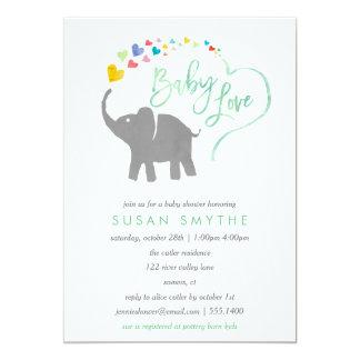 Regenbogen-Baby, Elefant-Babyparty-Einladung Karte