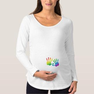 Regenbogen-Baby Handprints Mutterschafts-Shirt Schwangerschafts T-Shirt