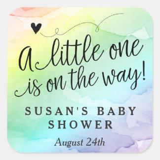 Regenbogen-Babyparty danken Ihnen zu etikettieren Quadratischer Aufkleber