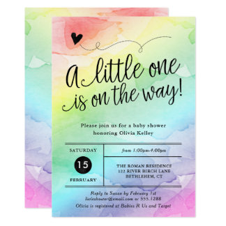 Regenbogen-Babyparty, Geschlechts-Person-Aquarell 12,7 X 17,8 Cm Einladungskarte