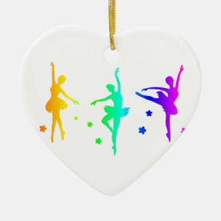 Regenbogen-Ballett Keramik Herz-Ornament