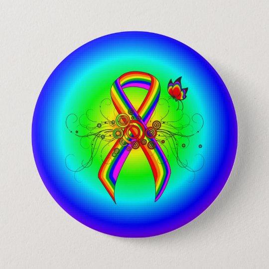 Regenbogen-Band mit Schmetterling Runder Button 7,6 Cm