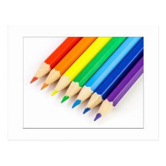 Regenbogen-Bleistifte Postkarte