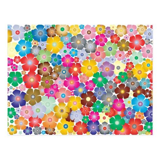 Regenbogen-Blumen-Blütenpostkarte Postkarte