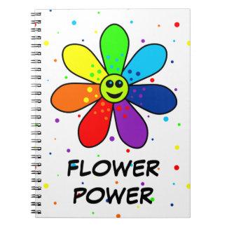 Regenbogen-Blumen-Power-Notizbuch Notizblock