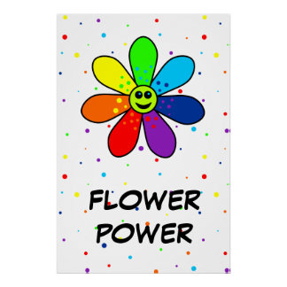 Regenbogen-Blumen-Power-Plakat Poster