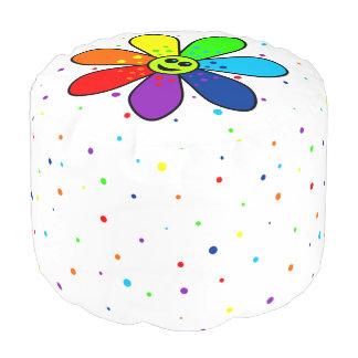 Regenbogen-Blumen-runder Puff Hocker