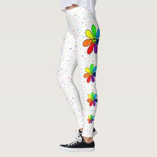 Regenbogen-Blumen-Seiten-Gamaschen Leggings