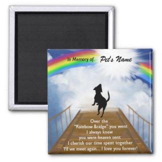 Regenbogen-Brücken-Erinnerungsgedicht für Hunde Quadratischer Magnet
