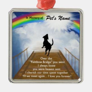 Regenbogen-Brücken-Erinnerungsgedicht für Hunde Silbernes Ornament