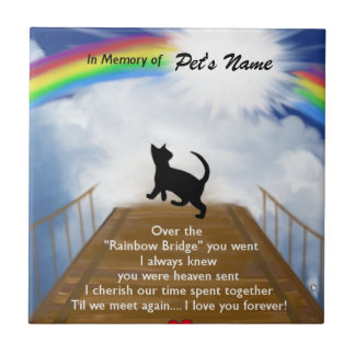 Regenbogen-Brücken-Erinnerungsgedicht für Katzen Keramikfliese