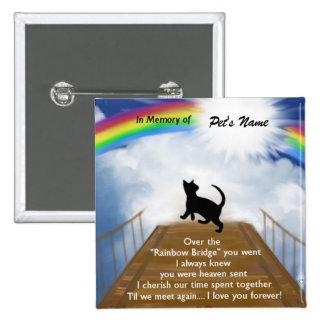 Regenbogen-Brücken-Erinnerungsgedicht für Katzen Quadratischer Button 5,1 Cm