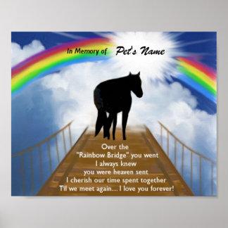 Regenbogen-Brücken-Erinnerungsgedicht für Pferde Poster