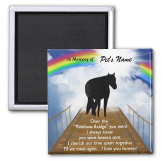 Regenbogen-Brücken-Erinnerungsgedicht für Pferde Quadratischer Magnet