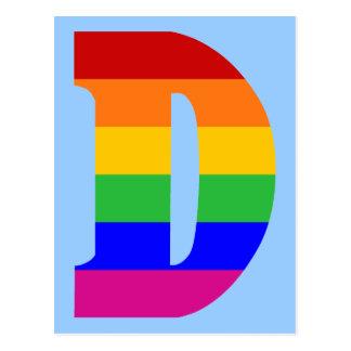 Regenbogen-Buchstabe D Postkarte