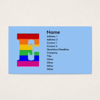 Regenbogen-Buchstabe E Visitenkarte