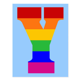 Regenbogen-Buchstabe Y Postkarte