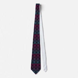 Regenbogen-Damast-Muster-Schwarz-Rosa-blaue lila Krawatte