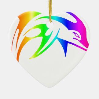 Regenbogen-Delphin Keramik Ornament