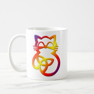 Regenbogen-Dreiheits-Knoten-keltische Katzen-Tasse Kaffeetasse