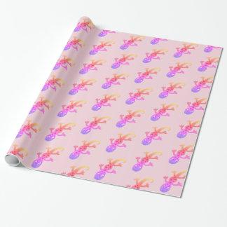 Regenbogen-Eidechsegecko-Clipart-Illustration Geschenkpapier