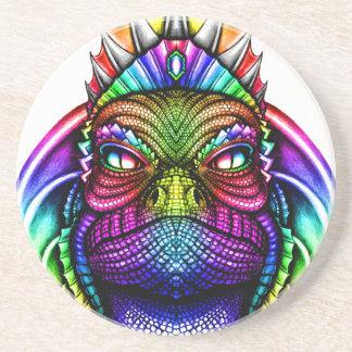 Regenbogen-Eidechsen-König Wearing eine Krone Sandstein Untersetzer
