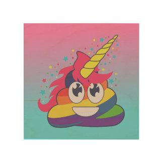 Regenbogen-Einhorn Poo Emoji hölzerne Wand-Kunst Holzdruck