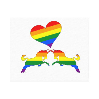 Regenbogen-Einhörner Leinwanddruck