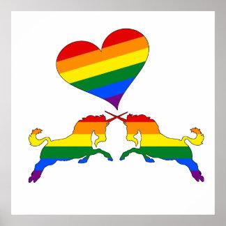 Regenbogen-Einhörner Poster