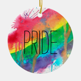 Regenbogen-Farben-Spritzer Keramik Ornament