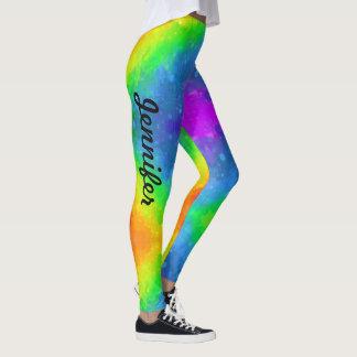 Regenbogen-Farbgamaschen personifizieren Namen Leggings