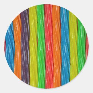 Regenbogen farbige Süßholzsüßigkeit Runder Aufkleber