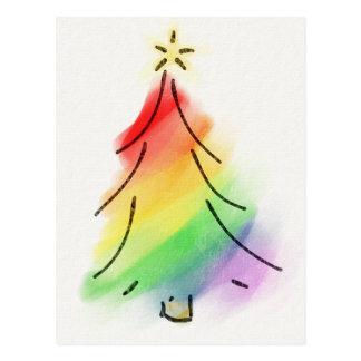 Regenbogen-Feiertags-Baum Postkarte