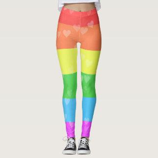 Regenbogen-Flagge mit Stolz der Herz-LGBT Leggings