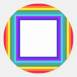 Regenbogen-Fotorahmen - Quadrat Runder Aufkleber