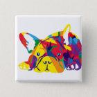 Regenbogen Französische Bulldogge Quadratischer Button 5,1 Cm