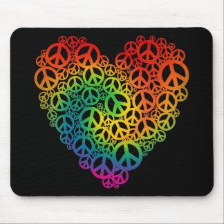 Regenbogen-Friedensherz Mauspads
