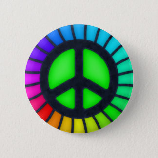 Regenbogen-Friedenszeichen-Knopf Runder Button 5,7 Cm