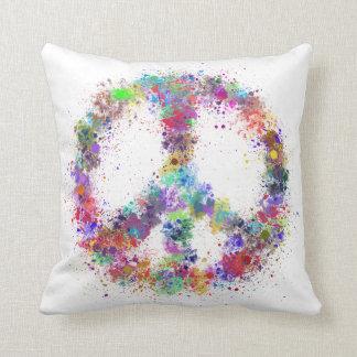 Regenbogen-Friedenszeichen| Watercolor-Spritzer Kissen