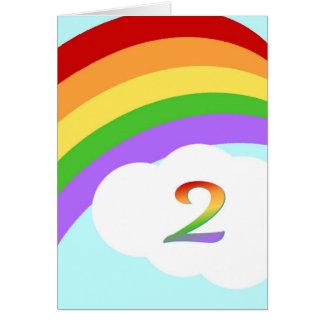 Regenbogen-Geburtstags-Karte für 2-Jährige Grußkarte