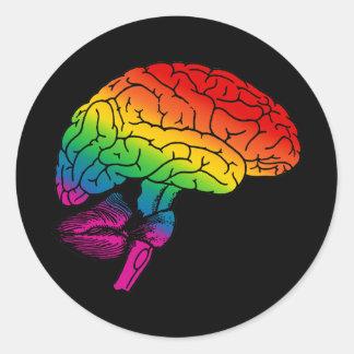 Regenbogen-Gehirn Runder Aufkleber