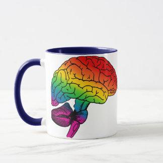 Regenbogen-Gehirn Tasse