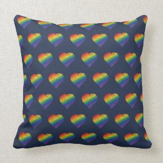 Regenbogen-Gekritzelherz-Wurfskissen Kissen