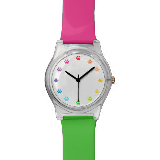 Regenbogen gemalte Tatzen-Drucke als Zahlen Armbanduhr