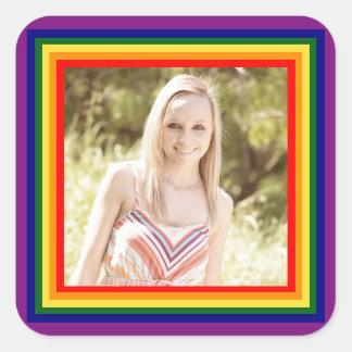 Regenbogen-gerahmtes Foto - quadratischer Quadratischer Aufkleber