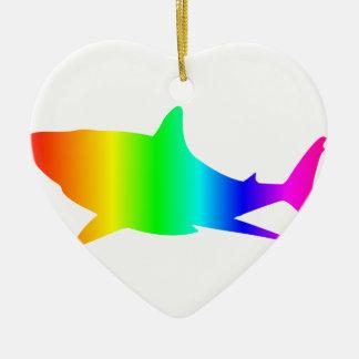 Regenbogen-Haifisch Keramik Ornament